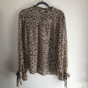 Mock Neck Leopard Print Blouse